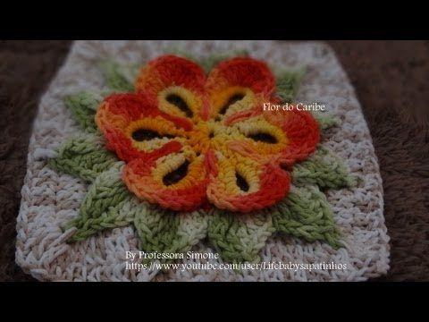 Passo a passo da Flor do Caribe em Crochê - YouTube