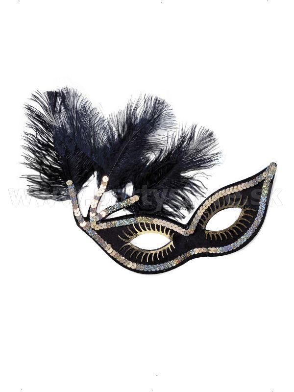 """Maska - škraboška """" Kankan Elegant """" čierna"""