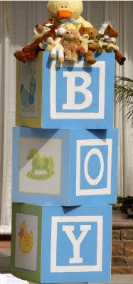 Awesome DIY blocks for a baby shower...you can do a boy or girl!! They stand over 7 feet tall!!