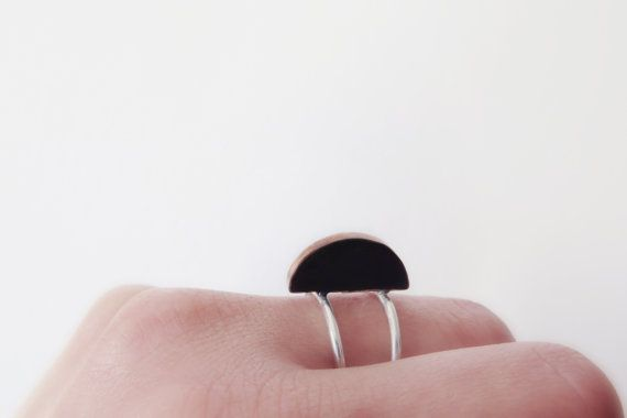 Semicircle ring made of copper silver and black by ALKISTIjewelry