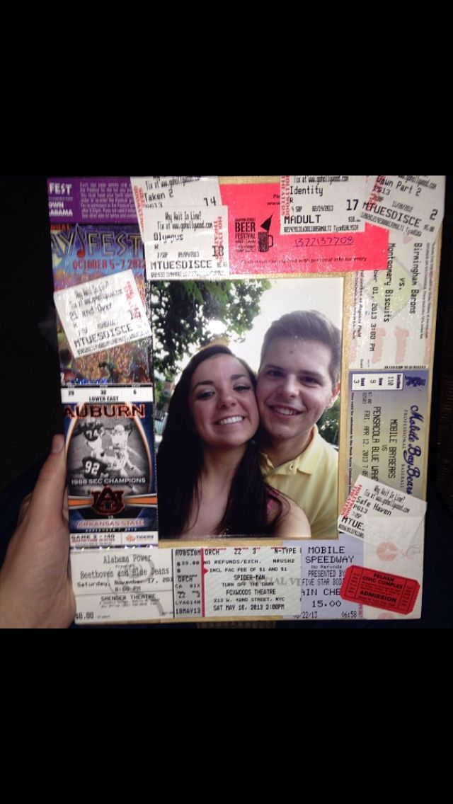 I saved all the tickets from everything me and my boyfriend did in the first year of our relationship, mod podge them to a cheap picture frame and gave this to him for our 1 year :)
