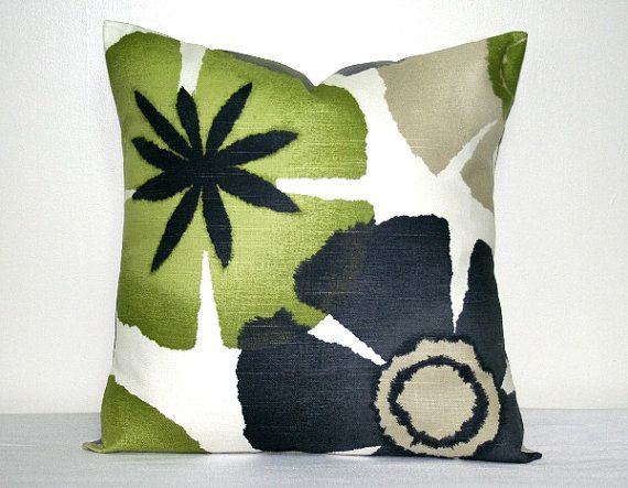 robert allen lime green and gray decorative pillow cover 18 inch modern floral accent pillow throw