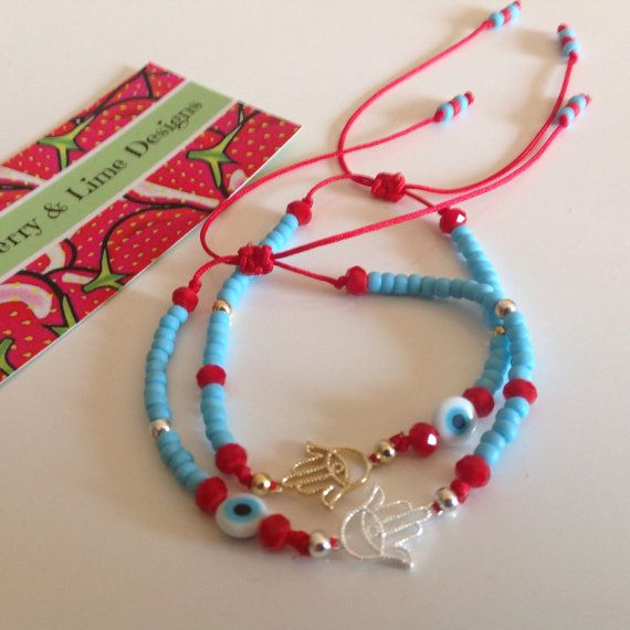 Lucky Amulet Evil Eye and Hamsa - String Protection Bracelets