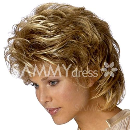 Stunning Short Side Bang Synthetic Brown Blonde Mixed Capless Towheaded Curly Women's Wig