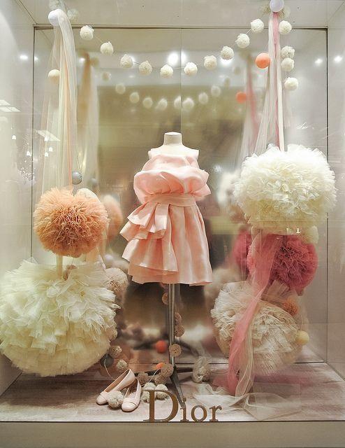 Tulle wedding decorating inspiration - Ana Rosa, ahtheprettythings: Dior window, Paris
