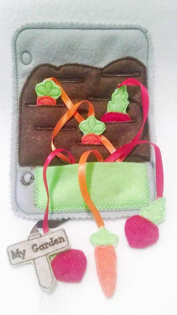 This listing is for 1 felt gardening quiet book page with 3 carrots, 3 radishes, and a garden sign. This page can be added to other pages to create the perfect quiet book. Great for matching and learning shapes, colors, and objects. These pages are wonderful to keep children busy during church, car rides, Dr.s office visit, plane rides, or for quiet times at home. Pages are made of gray felt and measure 5x7 all of the smaller pieces are attached with ribbons so that pieces will not be lost…