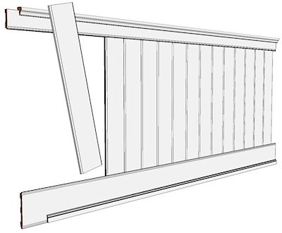 "Elite Wide Plank Wainscoting Kit 42"" High"