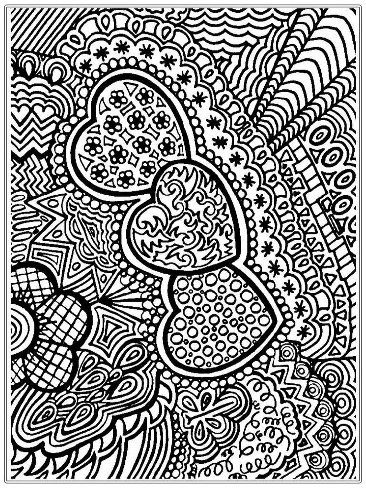 Heart Pictures To Color For Adult | Realistic Coloring Pages