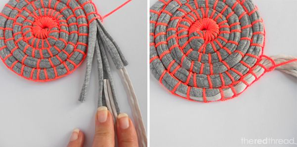 the red thread - tutorial for making fabric coil coaster and bowls - could also make hot pad trivets