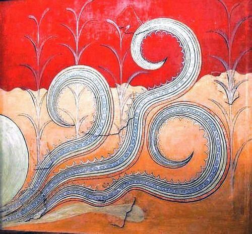 Motivo decorativo simile ai tentacoli di un mollusco in un affresco di Cnosso, 1500 circa a.C. Iraklion Museo Archeologico