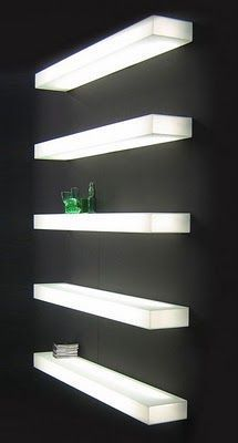 led floating glass shelves - Google Search