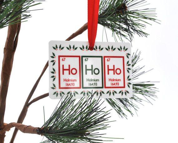 Ho Ho Ho Periodic Table Christmas Ornament Science Chemistry Geek