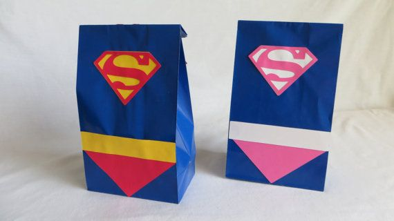 Superman Party Bags with capes, Birthday bags, Goodie bag Superhero theme Set of 12