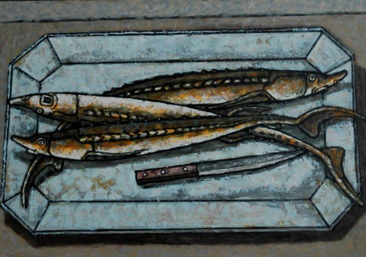 """sturgeon on a plate - size 39 """"x28"""" (100x70сm) - Картина ©2016 - DMITRIY TRUBIN -                                                                                                        Абстрактное искусство, Абстрактный экспрессионизм, Современная живопись, Абстрактное искусство, Геометральный, Животные, Натюрморт, sturgeon, стерлядь, рыба, картина с рыбой, трубин"""