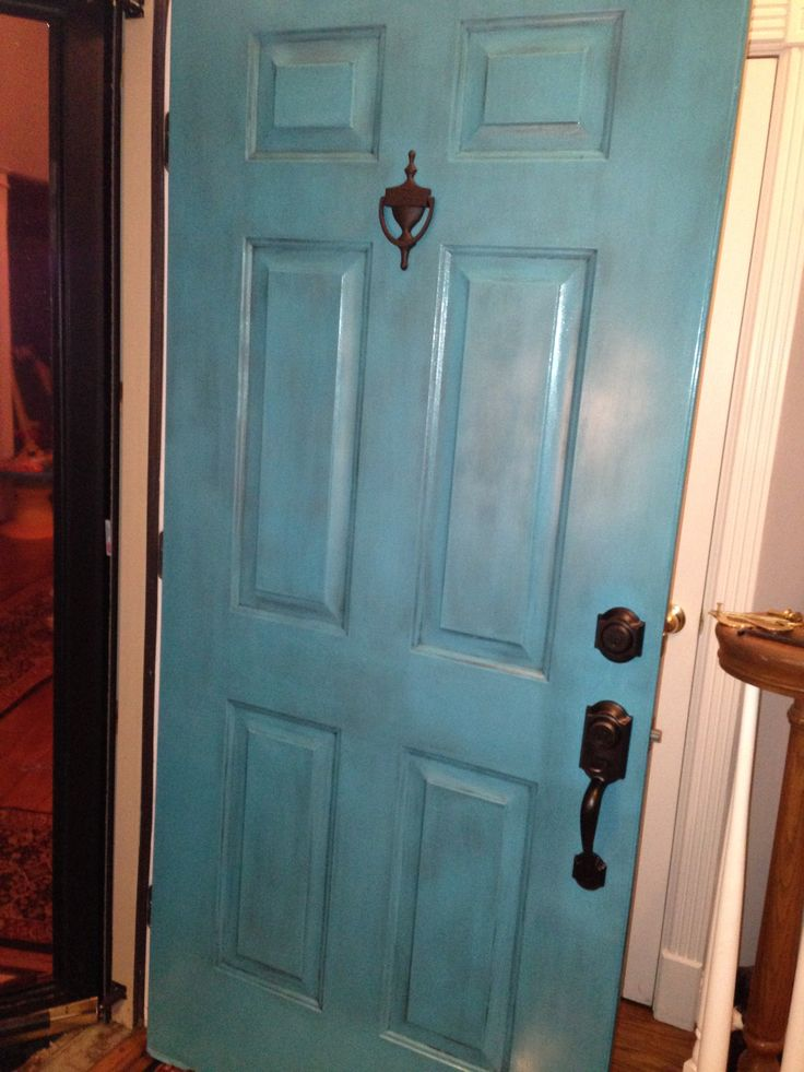 Is there a glaze on top of the turquoise? I think glazing on top of a rust red would look pretty for our front door! & 31 best Doors and handles images on Pinterest | Blue doors Front ...