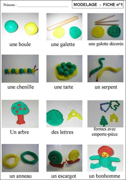 Des formes et des noms en pâte à modeler.