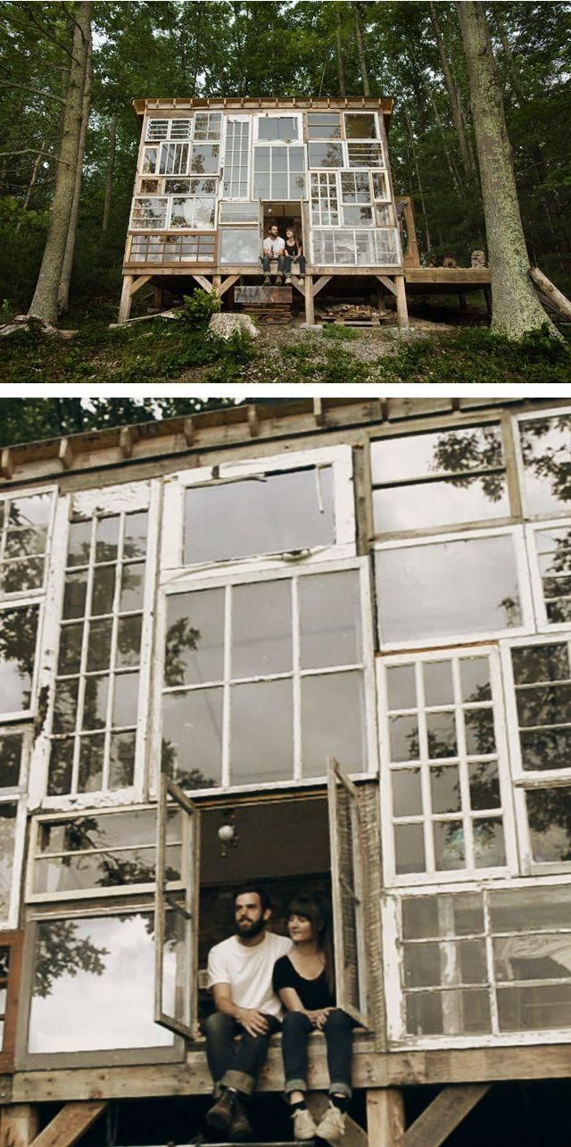 This couple is so inspiring they built this cabin with love and all recycled materials. I dream of a Cabin with recycled windows like this for us on a peaceful serene landscape property.