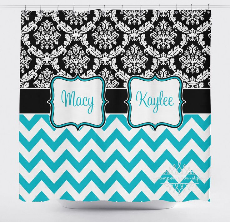 Damask and Chevron Shower Curtain - Black and Turquoise Shower Curtain - Girls Bathroom - Sisters Bathroom by PAMPERYOURSTYLE on Etsy