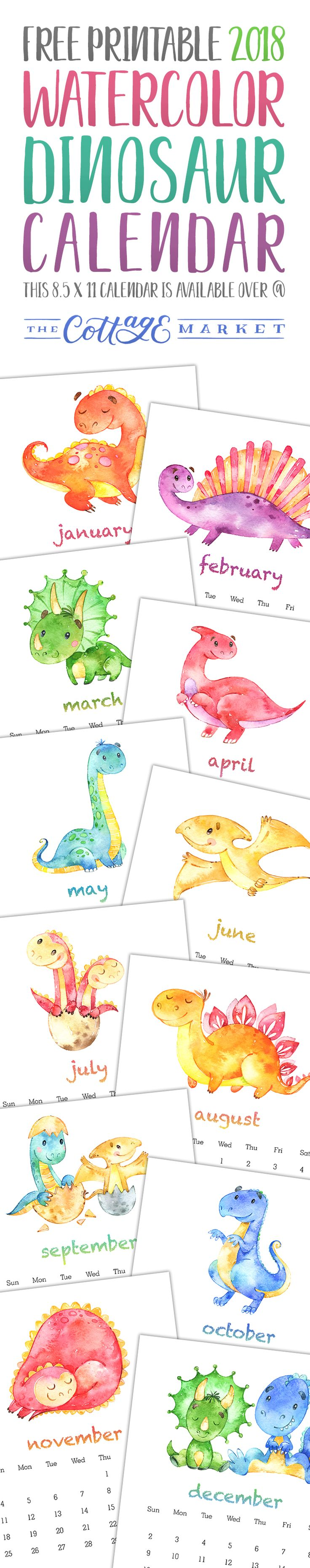 You have to check out this Free printable 2018 Watercolor Dinosaur Calendar. This Free Printable 2018 Calendar is filled with Prehistoric Fun For Everyone!