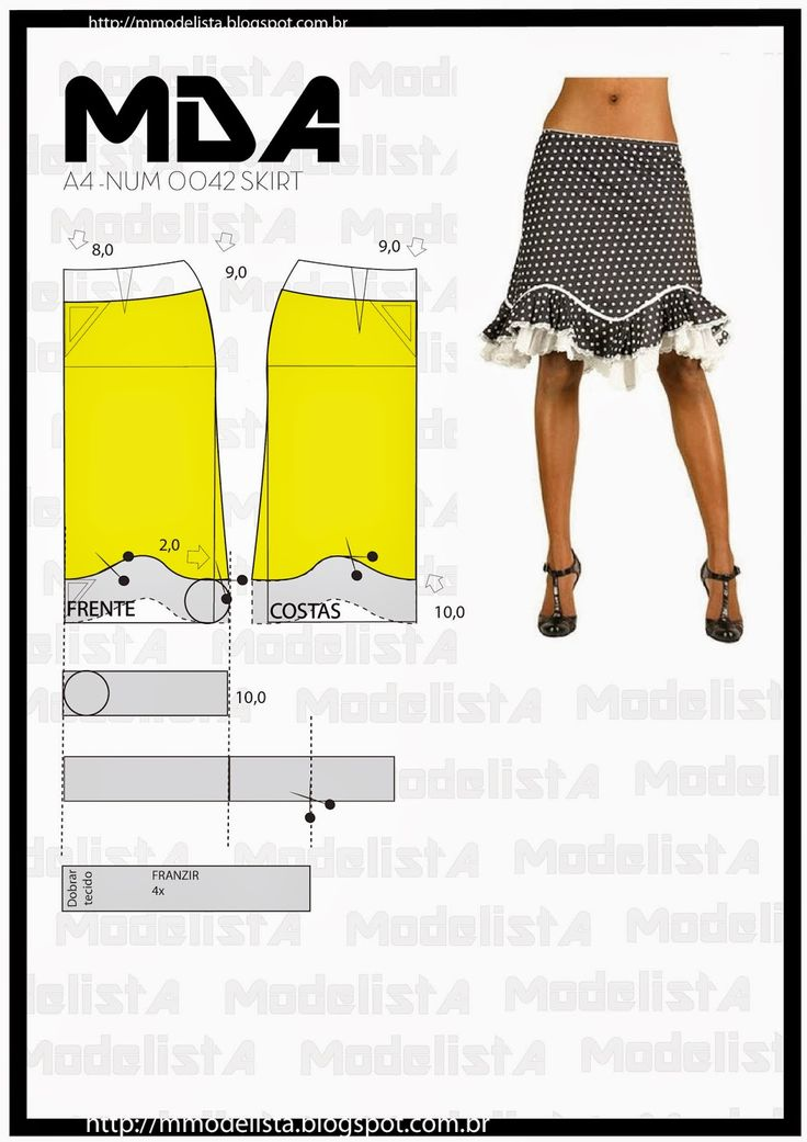Portuguese site with illustration showing how to alter a standard skirt pattern to create this cute curved hem skirt