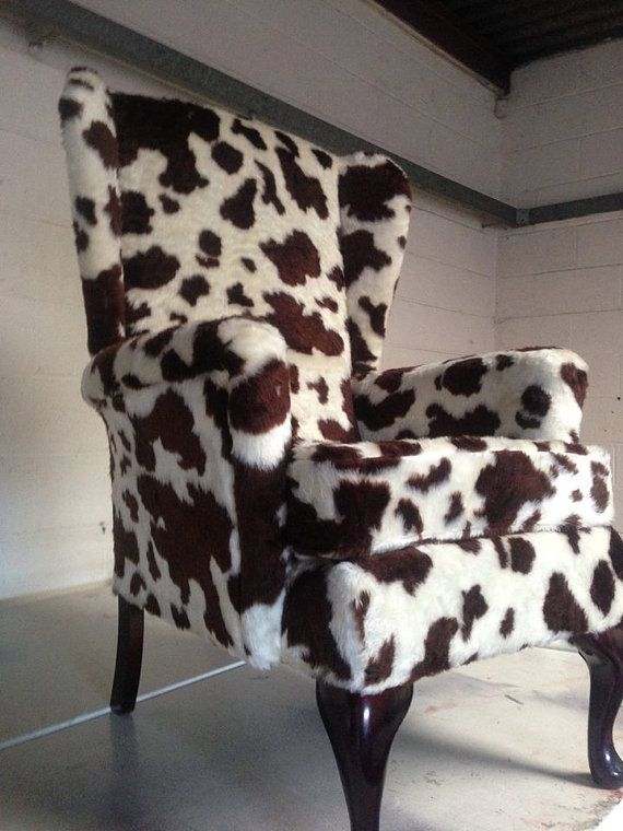 Custom made cow fabric chair by SRUpholstery on Etsy