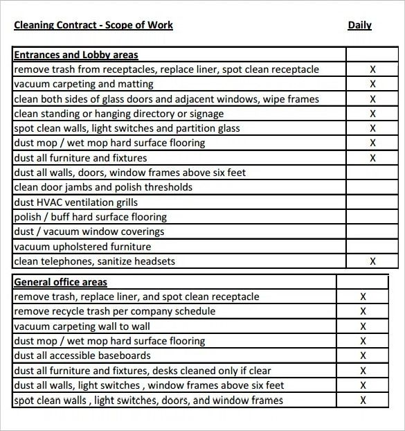Scope Of Work Templates 30 Ready To Use Scope Of Work Templates Examples By Templatelab Com Contract Template Construction Contract Cleaning Contracts