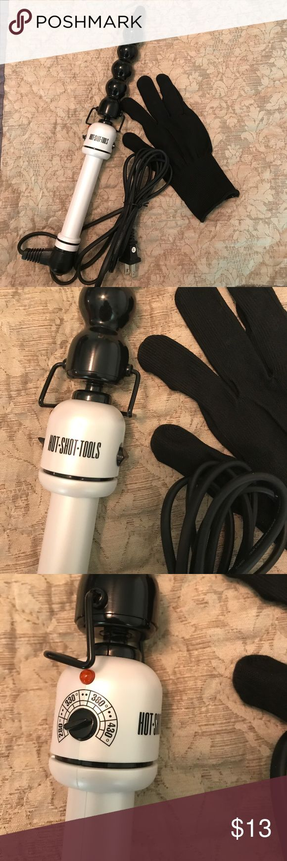 Hot shot curling iron with heatproof glove This makes