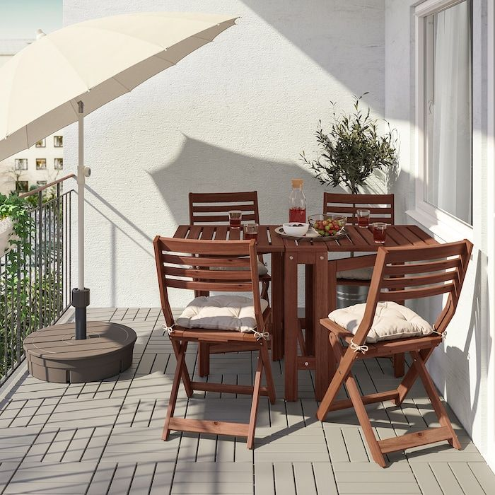 Gateleg Table Outdoor Brown Stained
