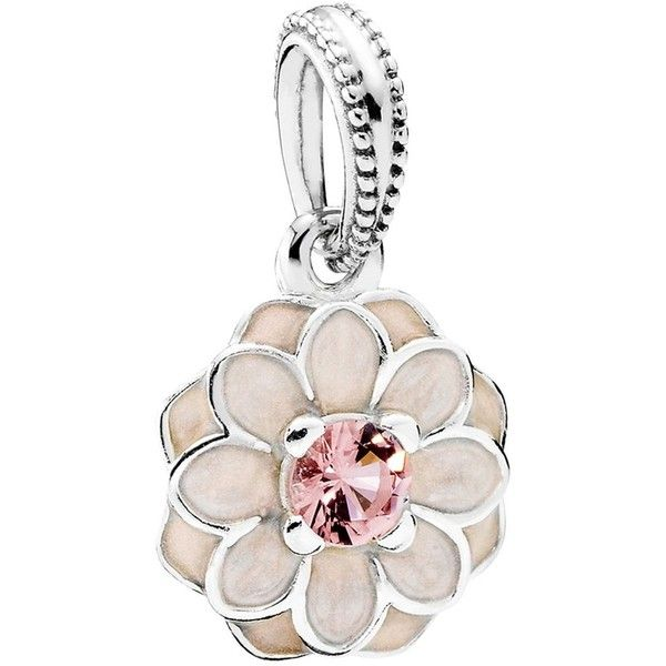Pandora Dangle Charm - Sterling Silver, Cubic Zirconia & Enamel... (72 CAD) ❤ liked on Polyvore featuring jewelry, pendants, pink, sterling silver jewelry, cubic zirconia jewelry, dangle charms, pandora charms and charm jewelry