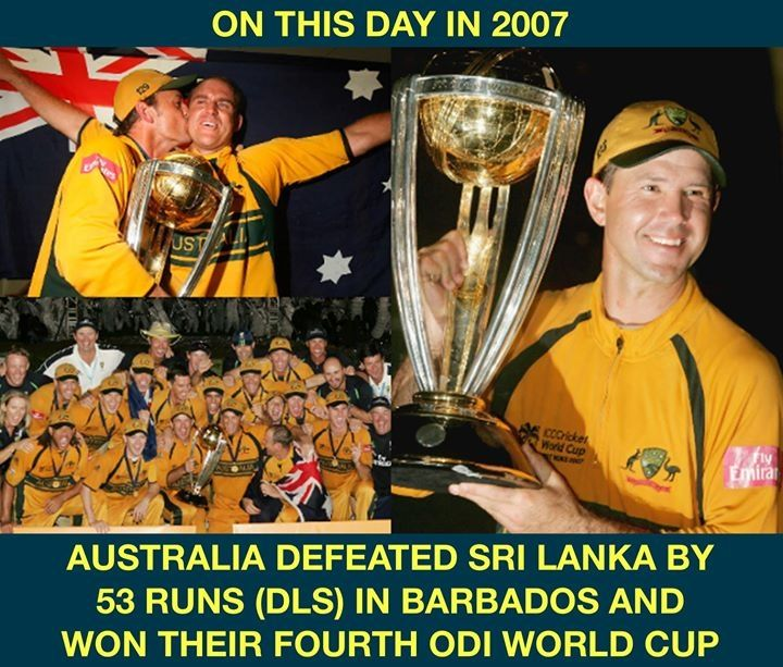 Onthisday In 2007 Australia Also Completed A Hat Trick Of World Cups World Cup Latest Cricket News Cricket News