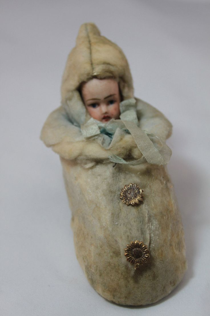 Antique and Vintage Winter Child in Shoe Made of Cotton as Container | eBay