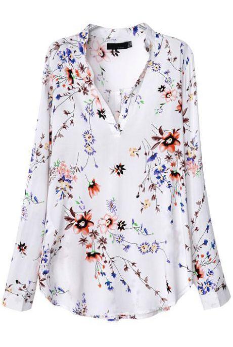 Blusa floral cuello pico manga larga-blanco