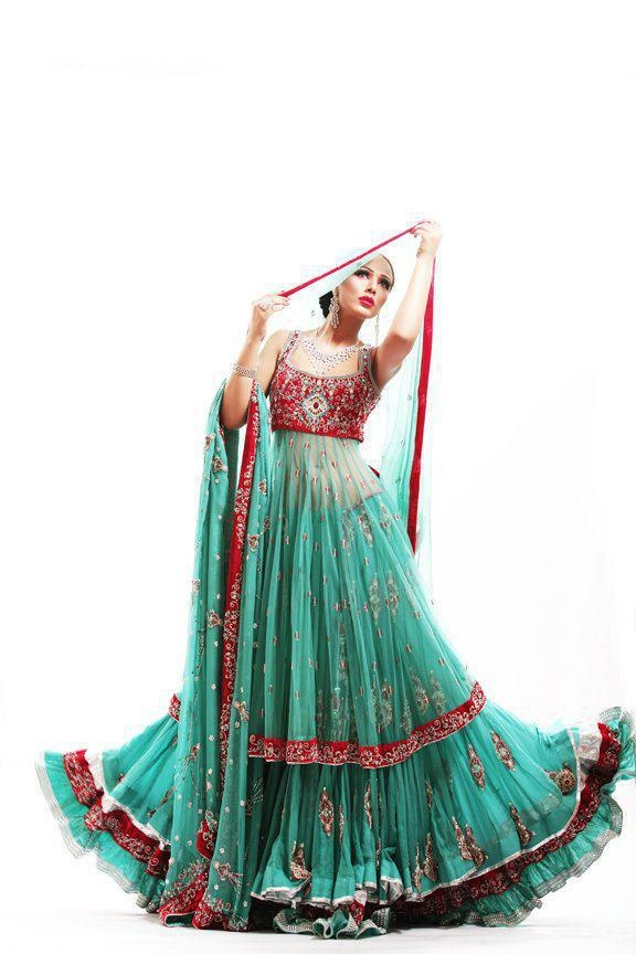 Bright lehenga anarkalis lenghas shararas pinterest for Bright colored wedding dresses