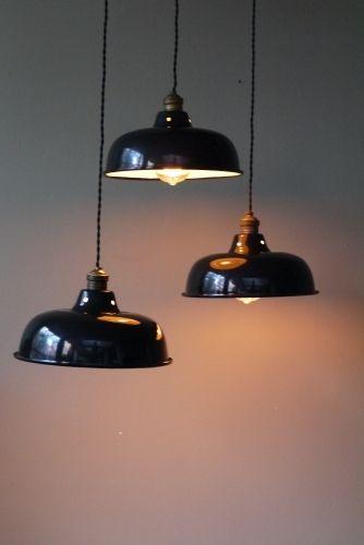 abat jour emaillee lampe industrielle noire