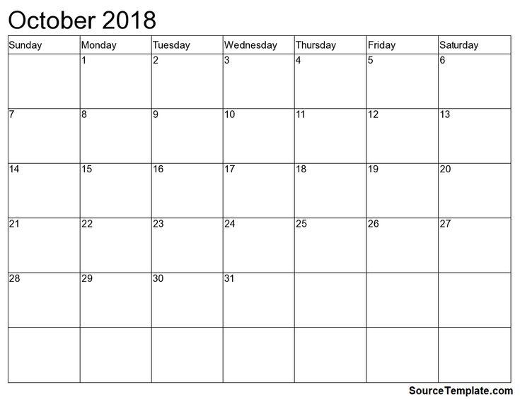 2018 October Calendar     https://sourcetemplate.com/october-2018-calendar
