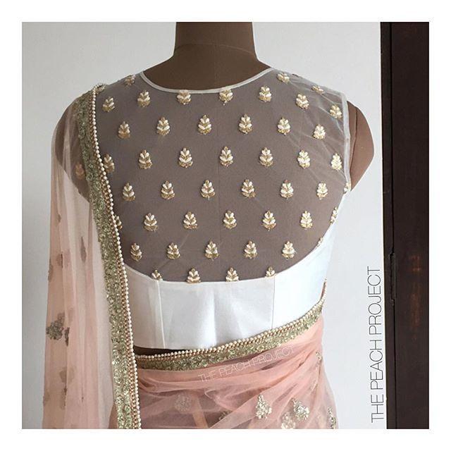 The Sheer Saba blouse with a peach sari