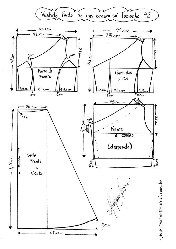 Esquema de Modelagem do Vestido de Festa de Um Ombro Só tamanho 42.