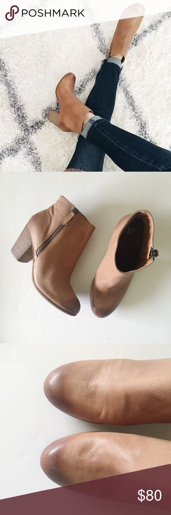 Tan Leather Ankle Booties A short side zipper accentuates the abbreviated style of a go-anywhere ankle bootie.  •Size 8.5  •New without box   •NO TRADES/HOLDS bp Shoes Ankle Boots & Booties