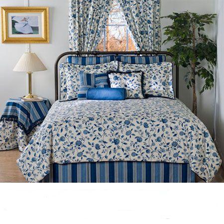porcelain blue floral waverly bedding - Waverly Bedding