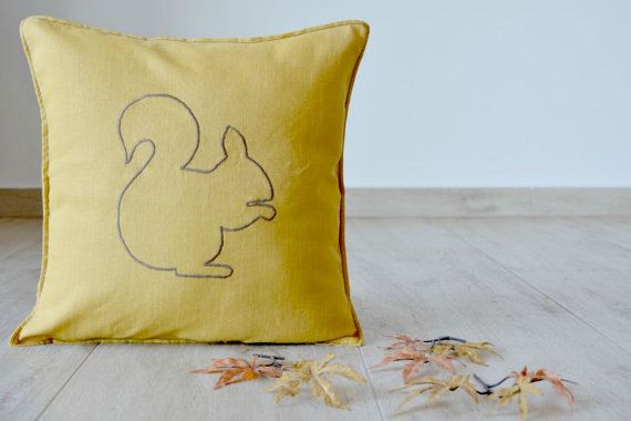 squirrel pillow cover, fall cushion cover, fall home decor, autmn home decor, cozy, country