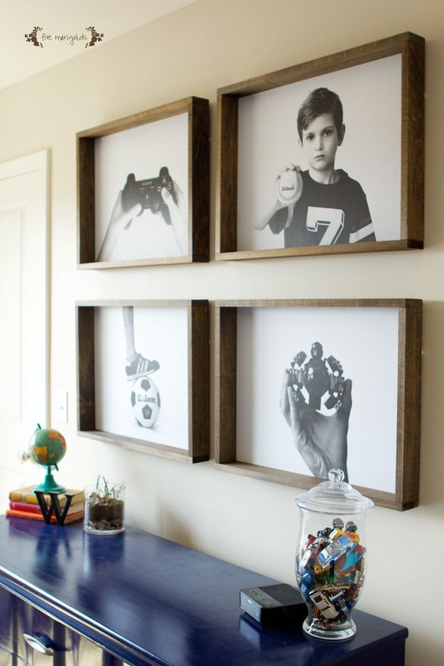 Create a bold, custom wall art gallery for a boy's room inexpensively with engineer prints and rustic DIY picture frames.