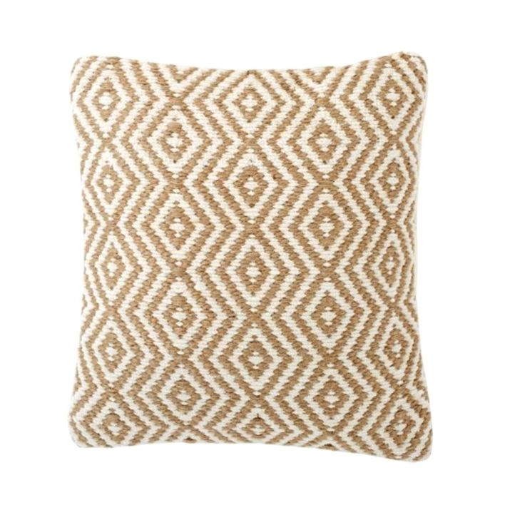 Woven White and Jute Pillow