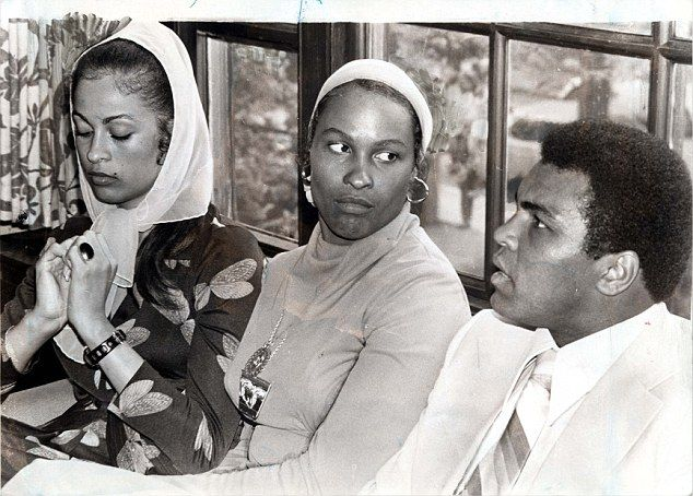 The women in the boxer's life: Ali pictured with his second wife Belinda, also known as Khalilah (middle), and third wife Veronica (left)