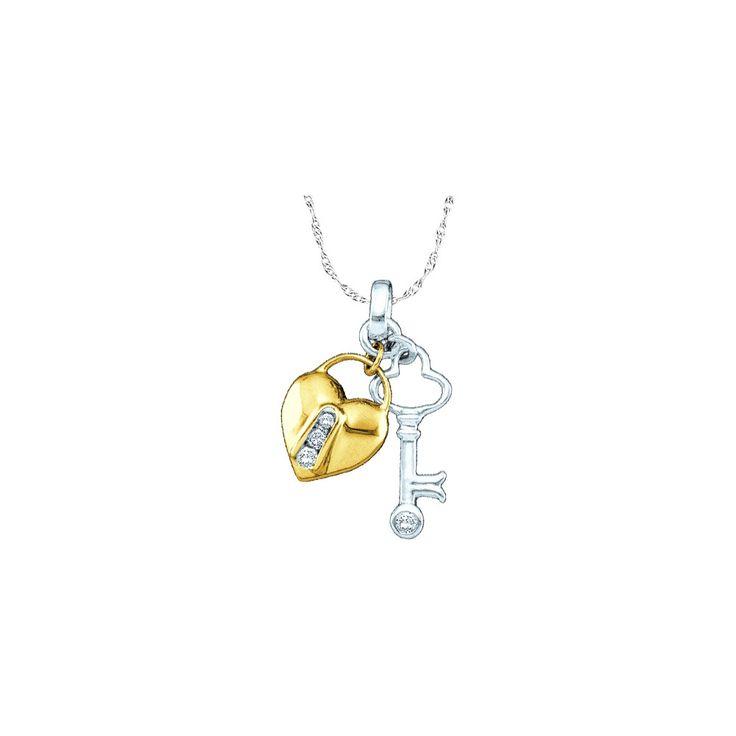 10kt Yellow Two-tone Gold Womens Round Diamond Heart Lock Key Pendant 1/20 Cttw 43857
