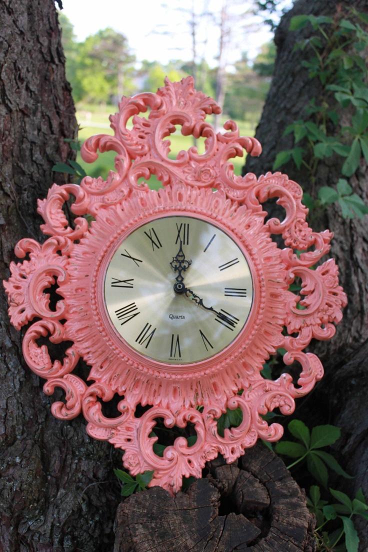 Am americana country wall clocks - Vintage Ornate Coral Wall Clock Coral Ornate Clock Shabby Chic Hollywood Regency Burwood Clock