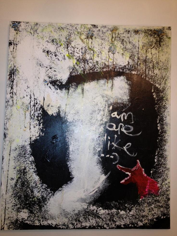 Acrílico en lino sobre lienzo en bastidor de 100x 70 cm. Nombre:El Perro y el Gato