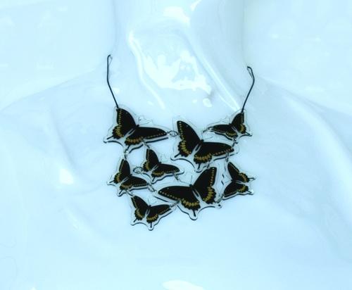 collana 8 elementi farfalla nera e gialla