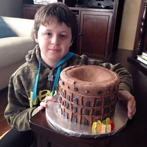 My son and his Roman Colosseum cake he made this weekend. I just gave him some instructions and he did most part of it, including clean up! ❤️ Great job!!