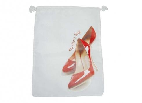 SACCHETTO NYLON SCARPE ROSSE. Sacchetto nylon per scarpe donna di colore bianco con disegno di scarpe rosse e scritta