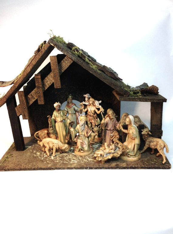 Vintage 1983 Nativity Set with Stable Fontanini 12 Piece Heirloom Manger Set Christmas Creche by northandsouthshabby
